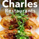"Pinterest image: image of brunch with caption reading 'Lake Charles Restaurants"""