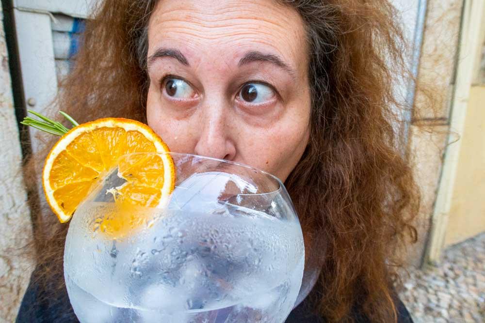 Mindi Drinks Gin and Tonic