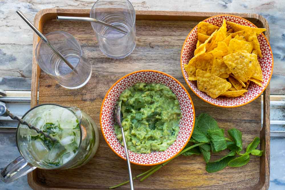 Mojito Pitcher with Guacamole and Chips