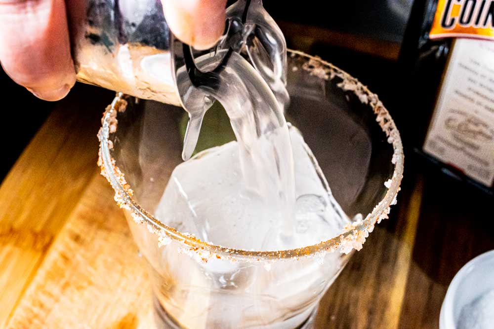 Pouring Spicy Margarita from Shaker