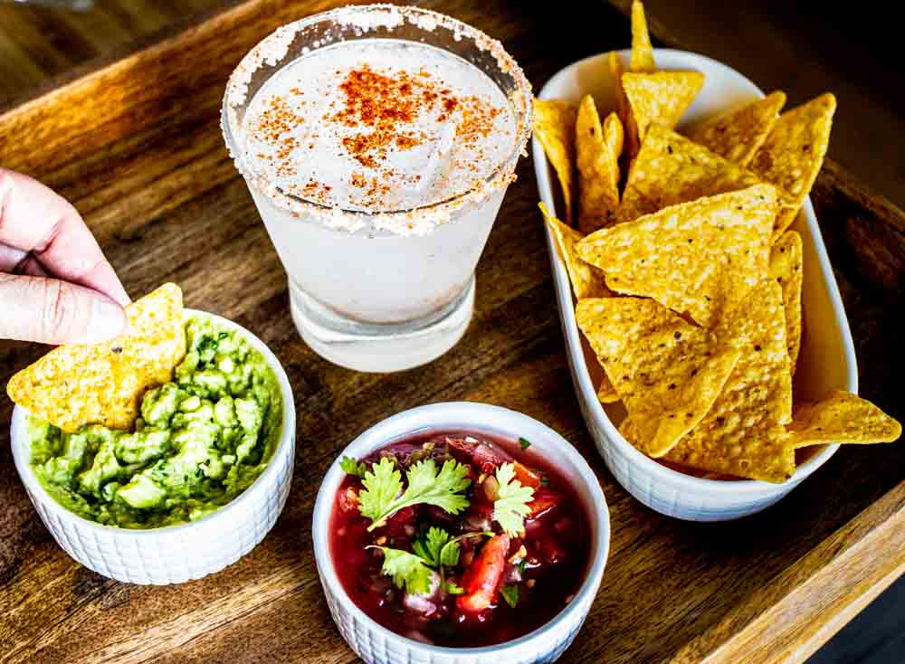 Spicy Margarita with Guacamole Salsa and Chip