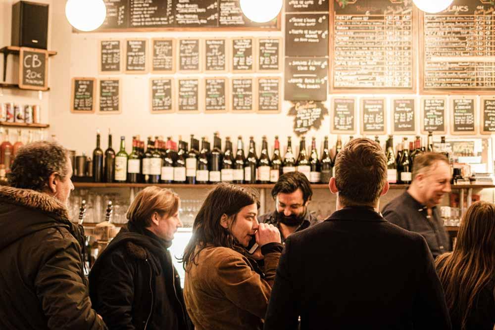 Bar at Le Baron Rouge in Paris