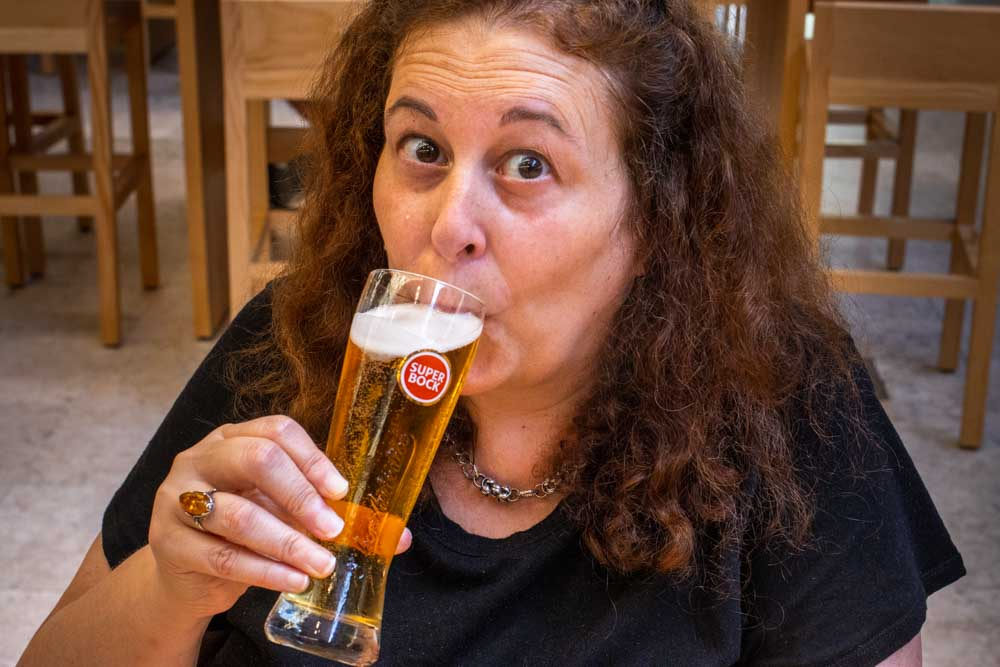 Mindi Drinks Beer at Time Out Market Lisbon