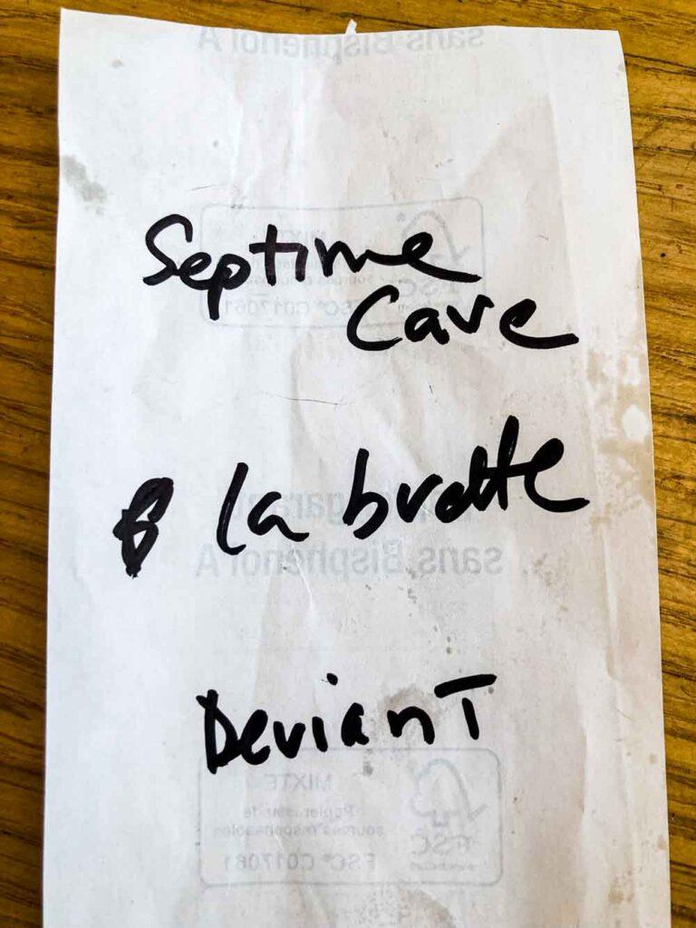 Paris Wine Bar List