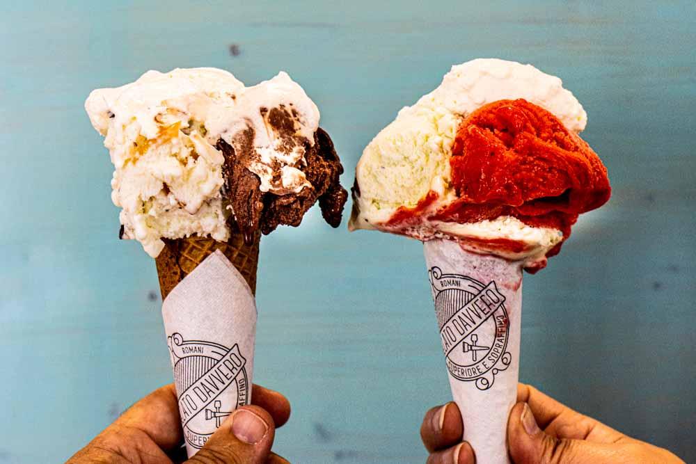 Two Ice Cream Cones at Gelato Davvero in Lisbon