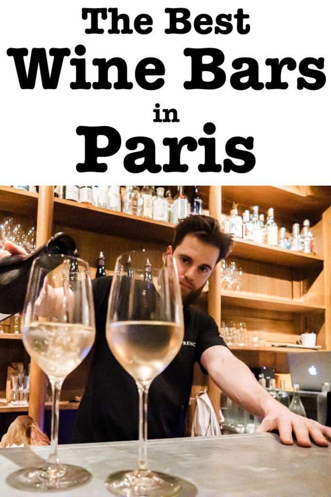 "Pinterest image: Paris wine bar with caption reading ""The Best Wine Bars in Paris"""