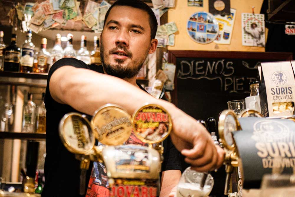 Bartender at Snekutis in Vilnius