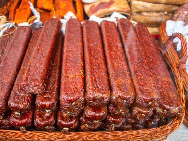 Dried Sausage at Market in Vilnius