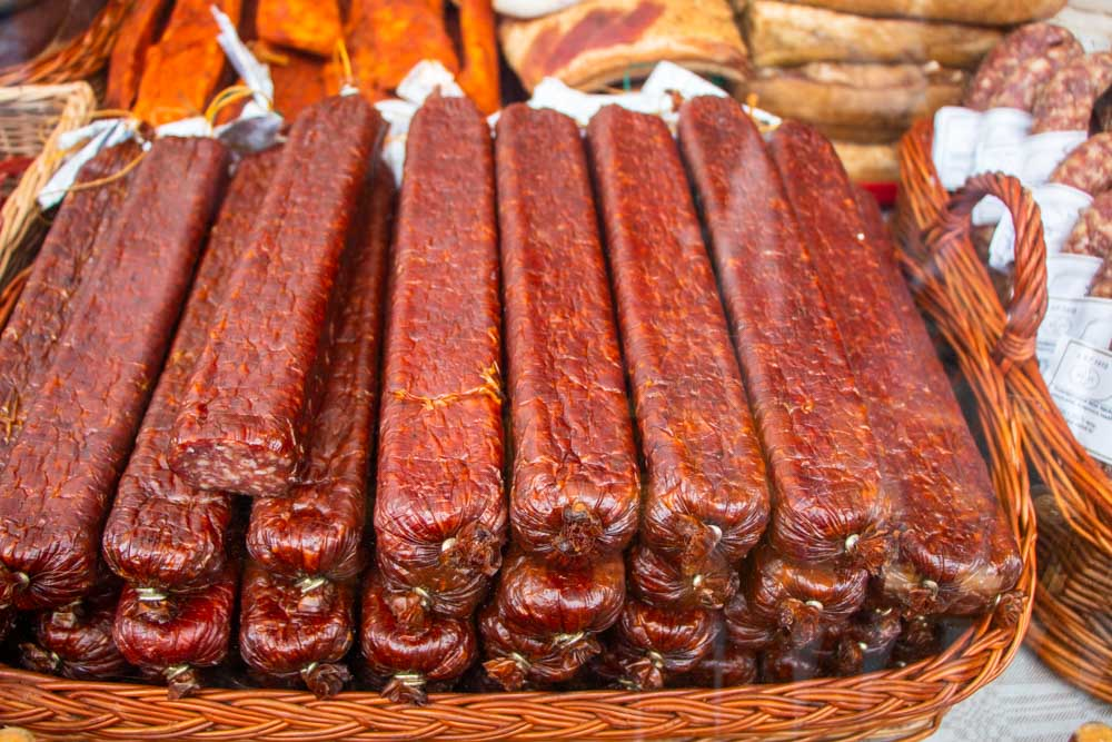Dried Sausage at Market in Vilnius