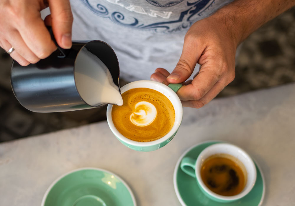 Flat White Prep at Bloom Coffee Room in Lisbon