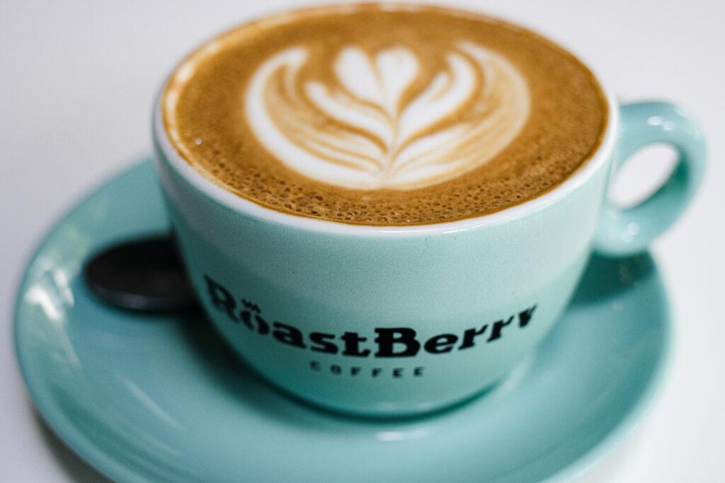 Flat White in Blue Mug at RoastBerry Coffee Lab in Lisbon