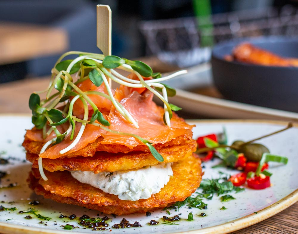 Potato Pancakes and Smoked Salmon at Grey in Vilnius