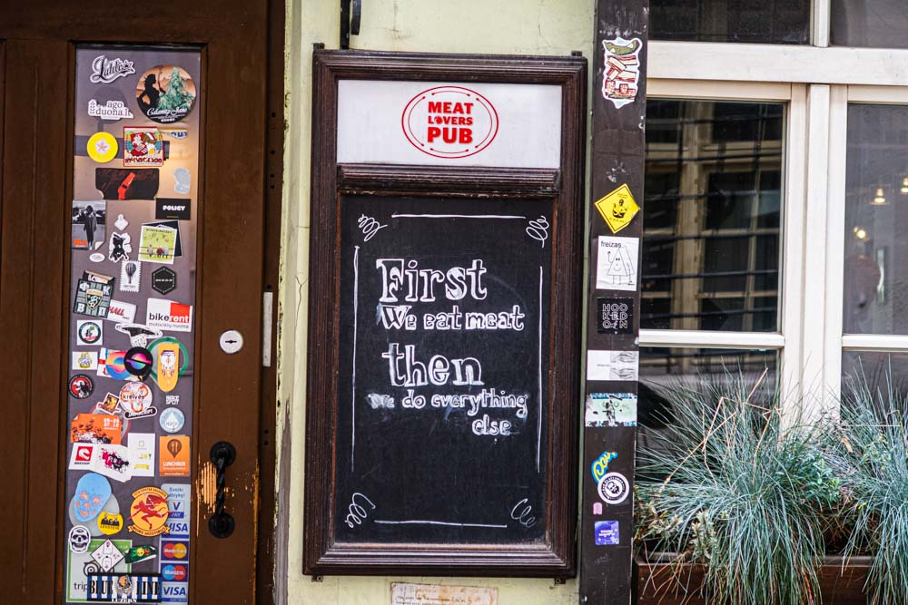 Sign at Meat Lovers Pub in Vilnius