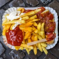 Currywurst Platter at Curry 61 in Berlin