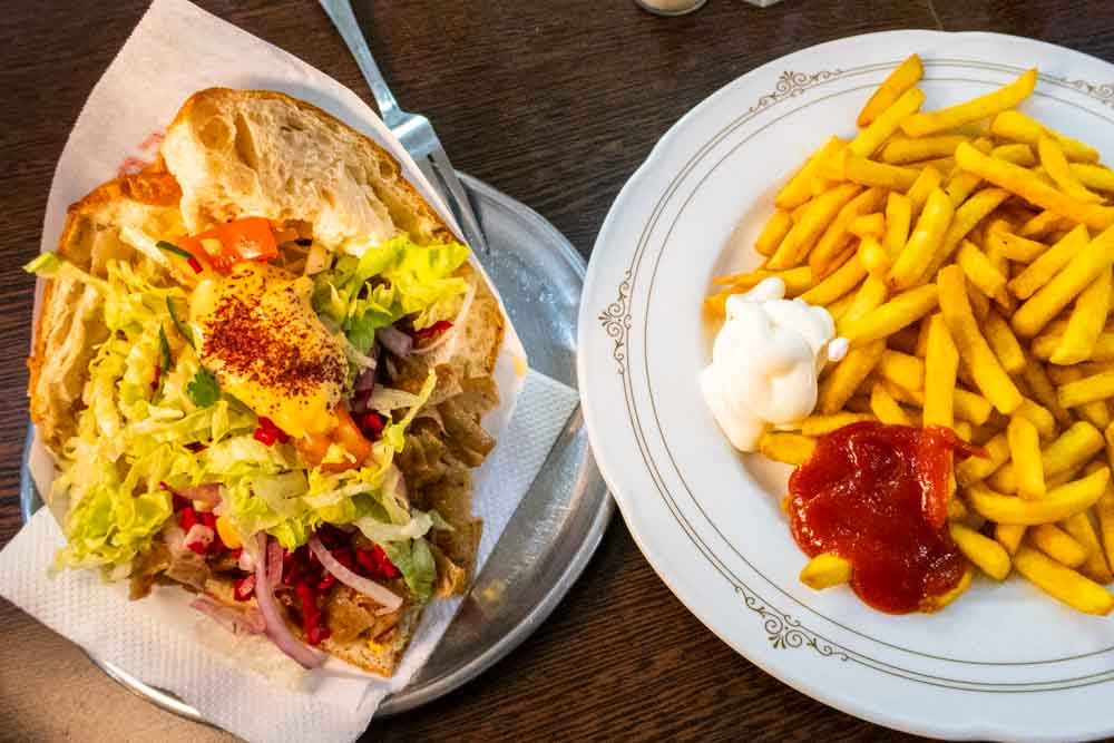 Doner Kebab and Fries at Rosenthaler Grill in Berlin
