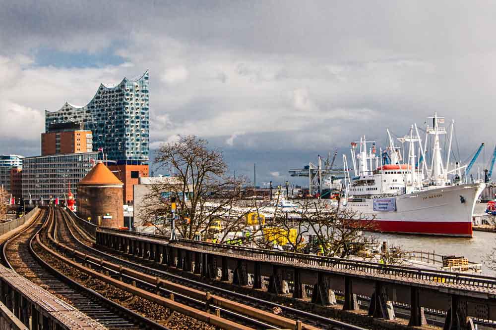 Hamburg Waterfront with Ship