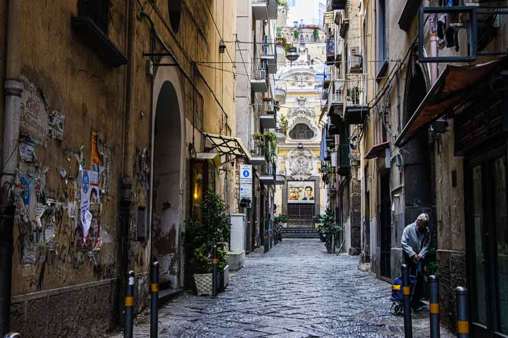 Alley with Yellow Building in Naples Italy
