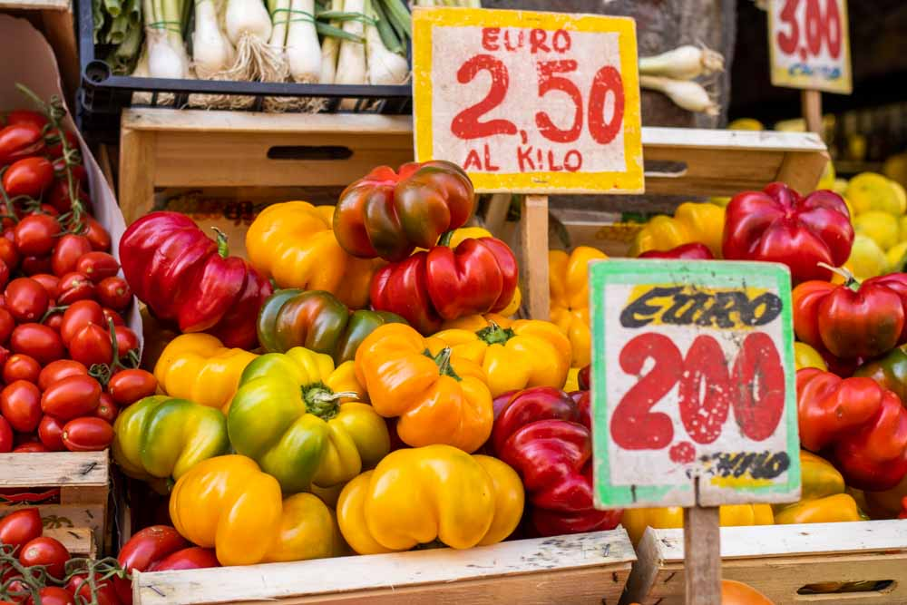 Colorful Produce in Naples Italy