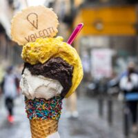 Gelato with Pink Spoon at Valent in Naples Italy