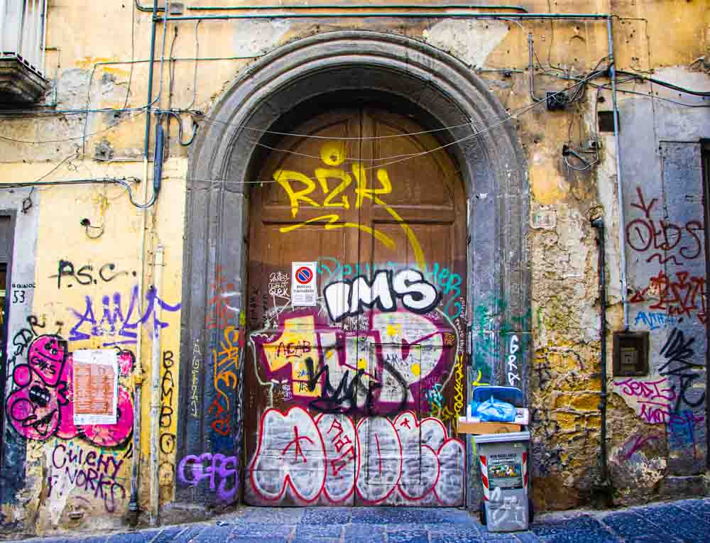 Graffiti Building in Naples Italy