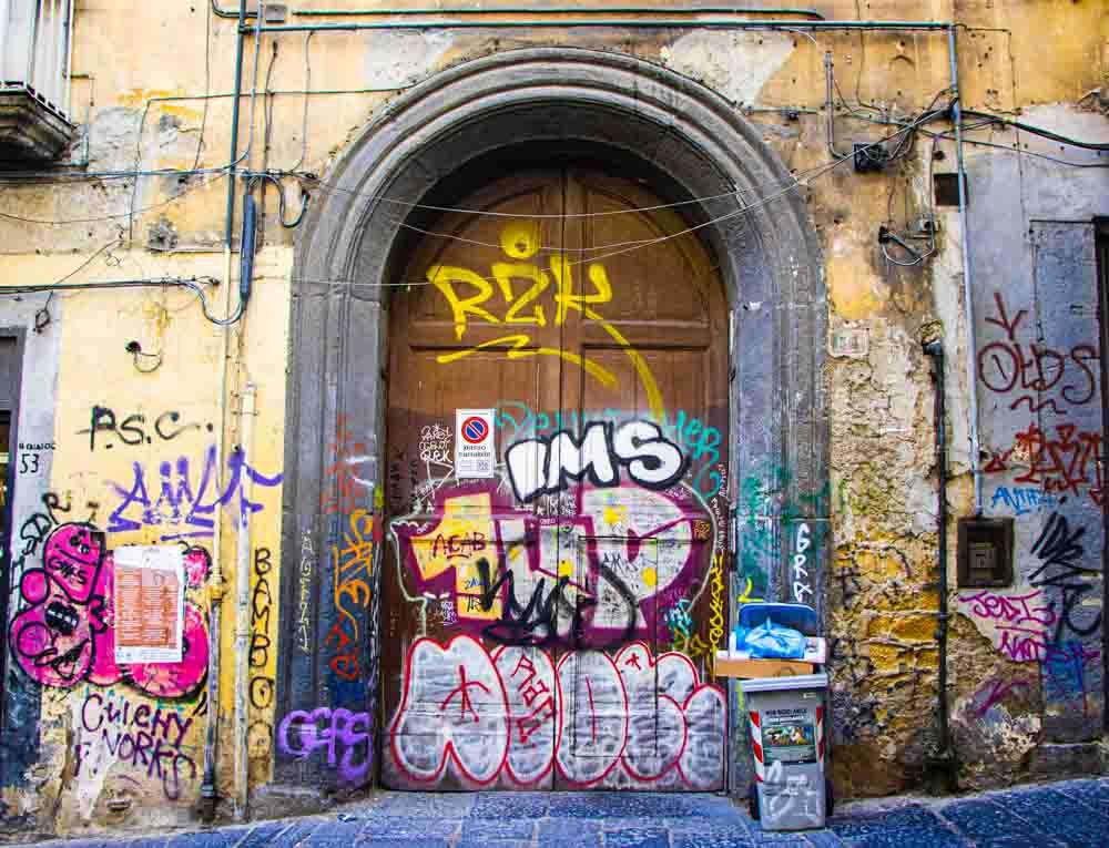 Graffiti Building in Naples Italy