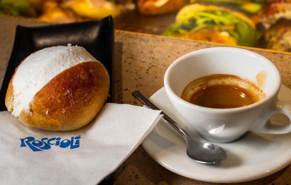 Maritozzo and Coffee at Roscioli Caffe Pasticceria Maritozzo