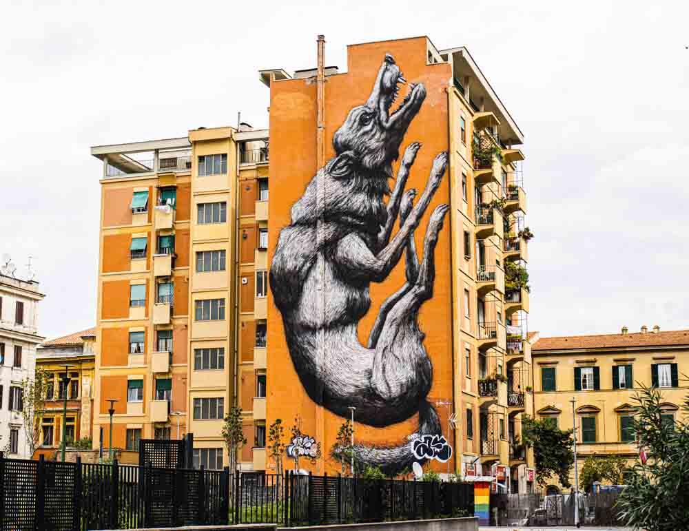 Orange Building with Street Art in Rome
