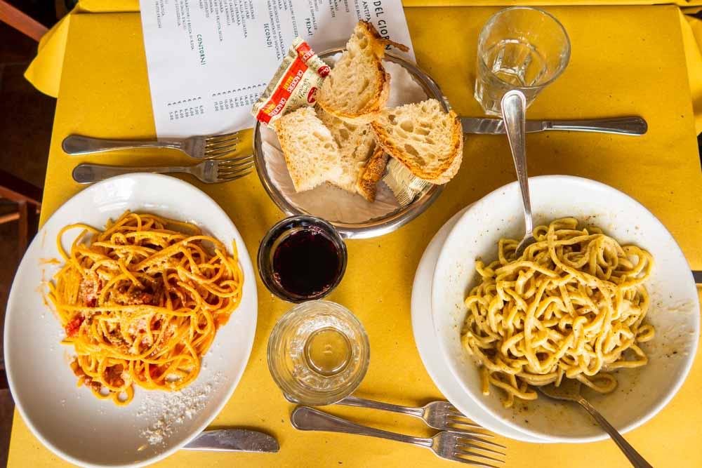 Pasta and Wine at Piatto Romano in Rome
