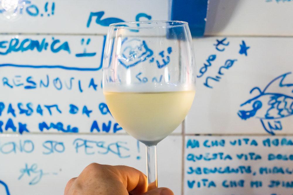White Wine at Pescheria Mattiucci in Naples