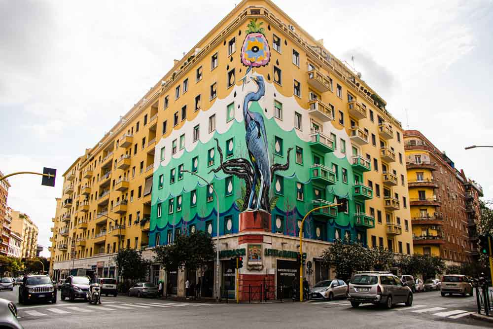 Yellow Building with Stretet Art in Rome