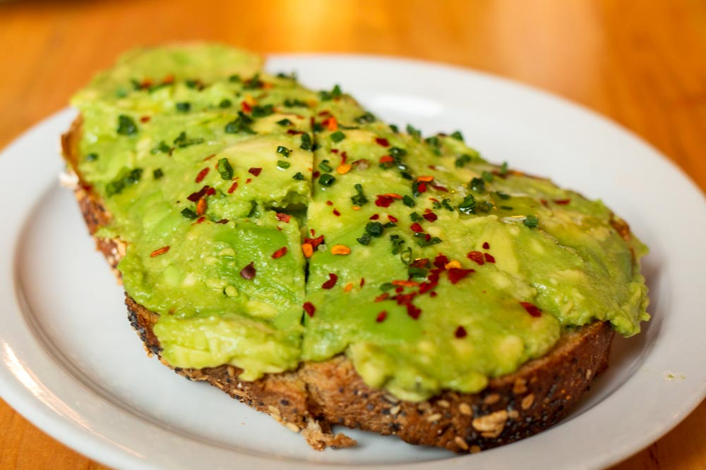 Avocado Toast at The Park Cafe in Charleston