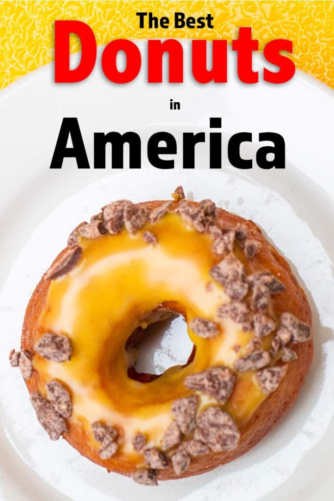 Pinterest image:image of donut with caption reading 'The Best Donuts in America'