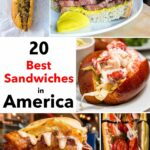 Pinterest image:5 images of sandwiches with caption reading '20 Best Sandwiches in America'