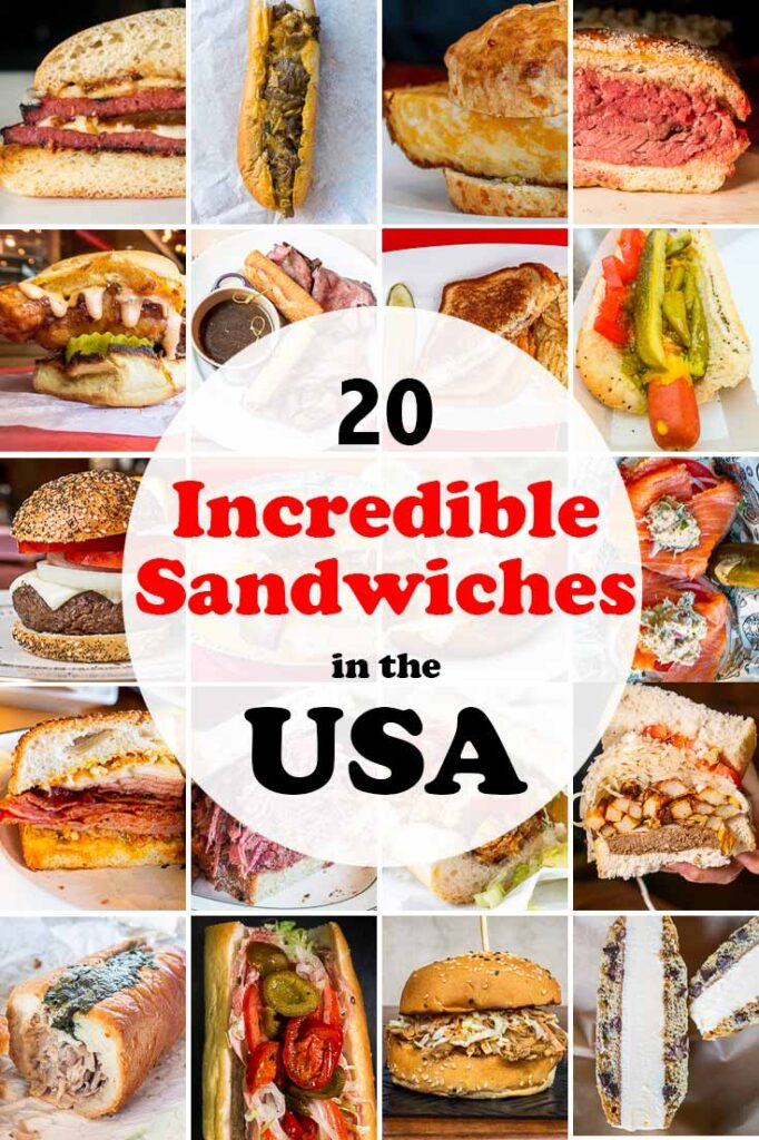Pinterest image:20 images of sandwiches with caption reading '20 Best in the USA'