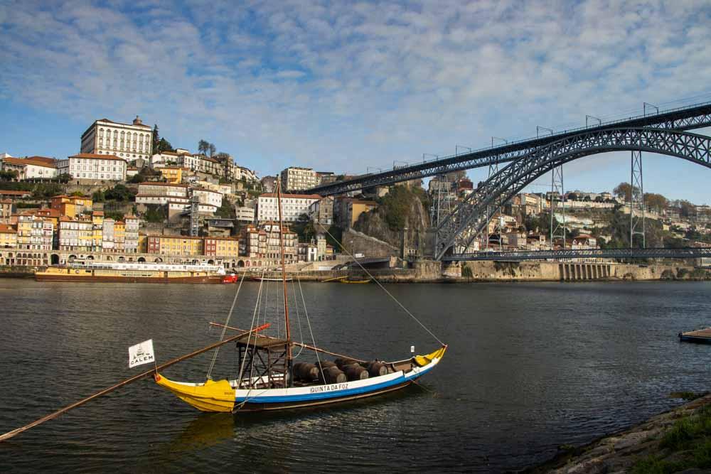 Bridge and Boat on Douro in Porto