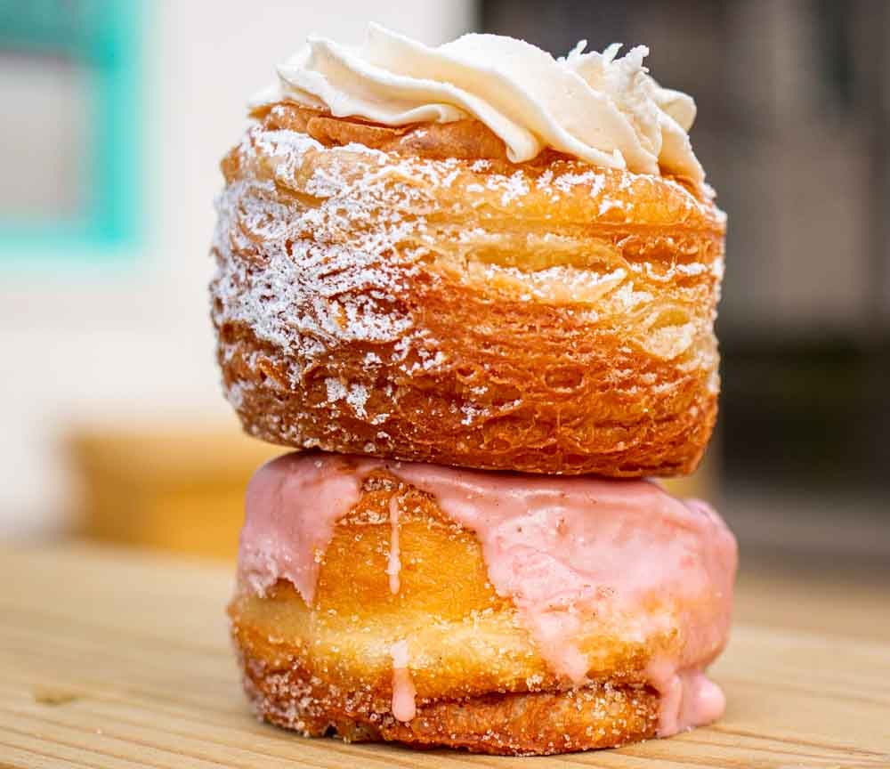 Cherry Rhubarb and 100 Layer Vanilla Cream Donuts at Five Daughters Bakery in Nashville