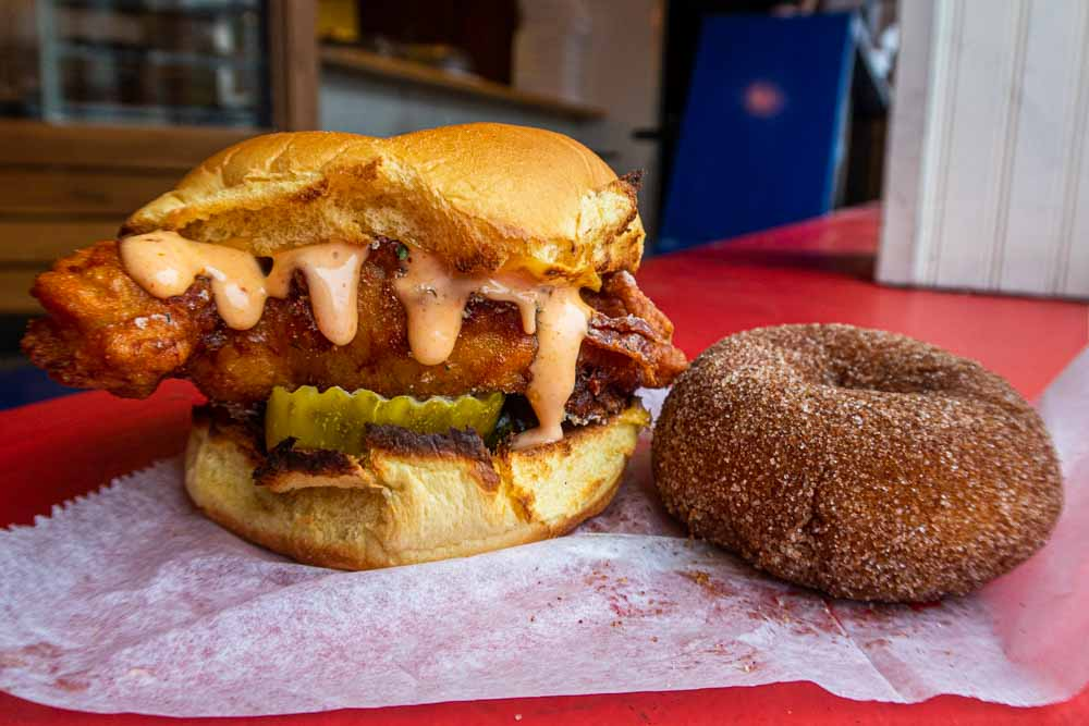 Chicken Sandwich and Donut at Federal Donuts in Philadelphia