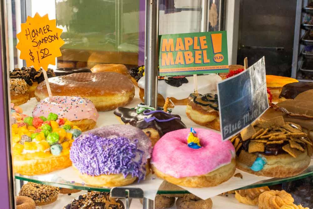Donut Display at Voodoo Doughnuts in Portland