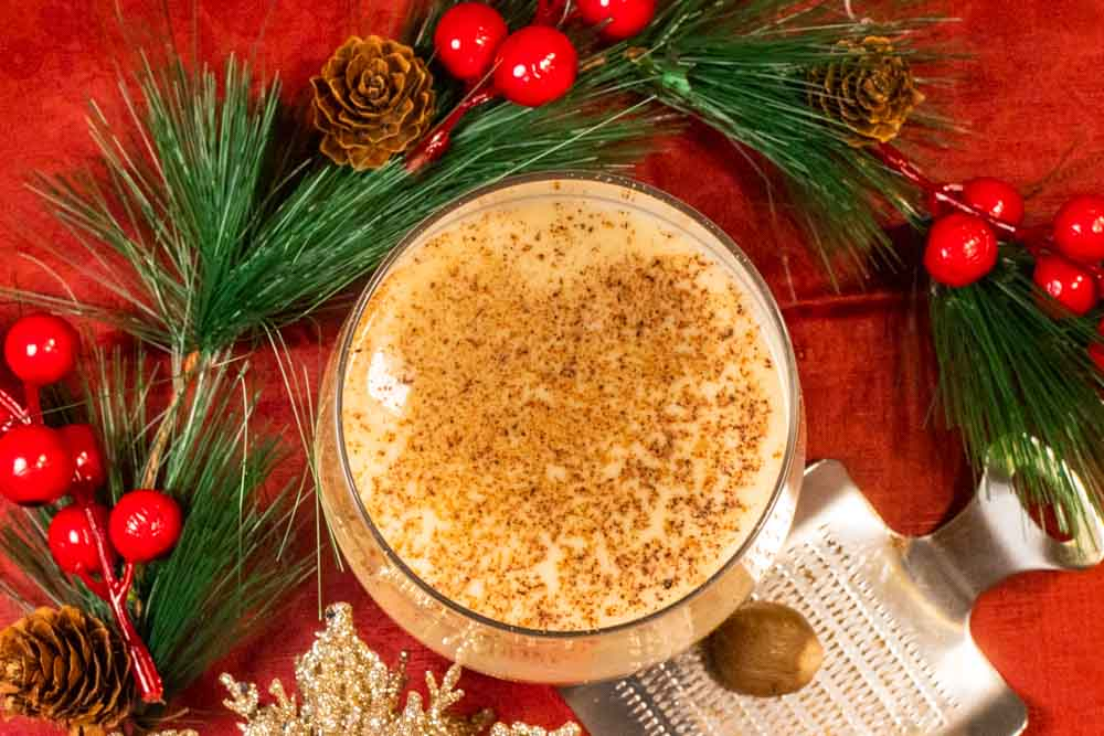 Festive Bourbon Eggnog Drink from Above
