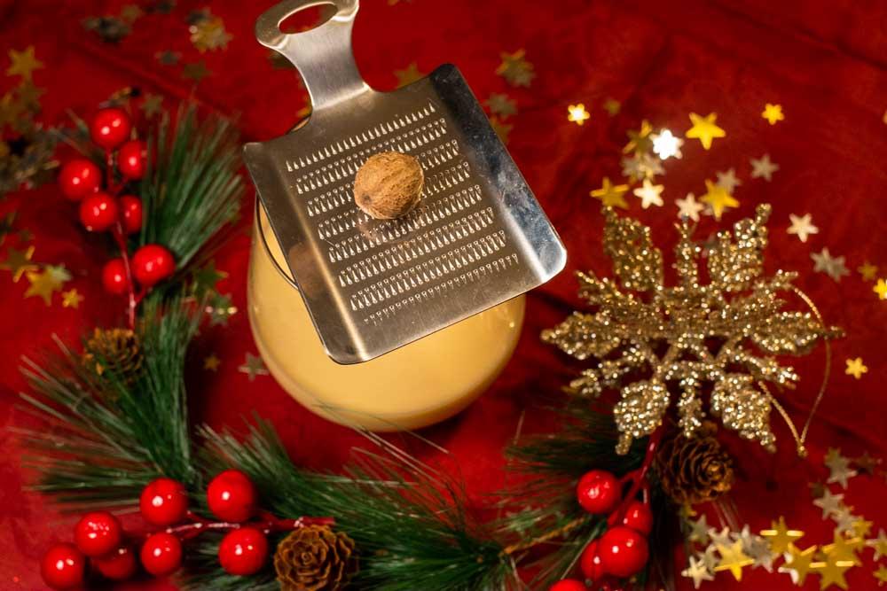 Festive Bourbon Eggnog with Grater and Nutmeg