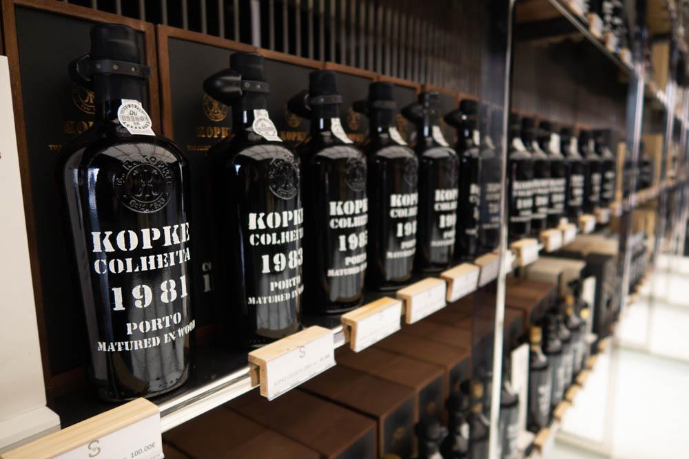 Port Bottles at Sogevinus Wine Shop in Porto