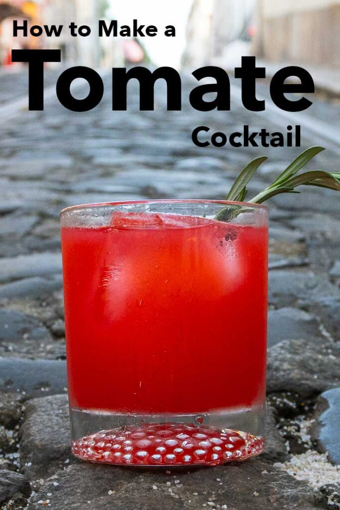 Pinterest image: image of Tomate cocktail with caption reading 'How to Make a Tomate Cocktail'