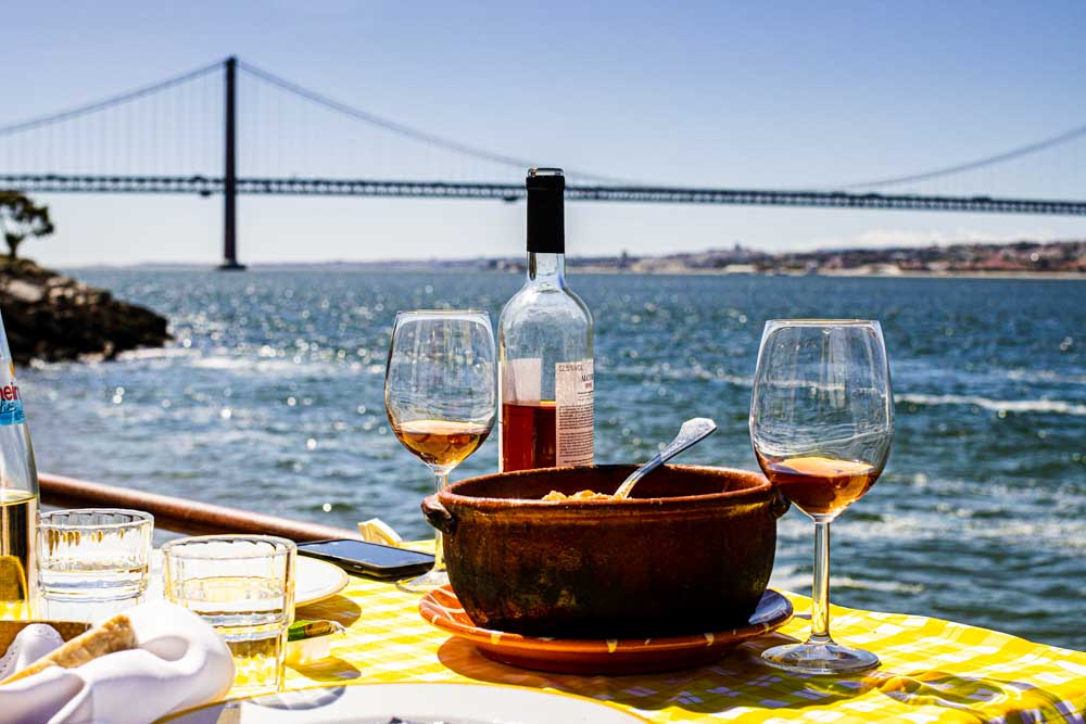 Cataplana de Marisco with View at Ponto Final in Lisbon Portugal
