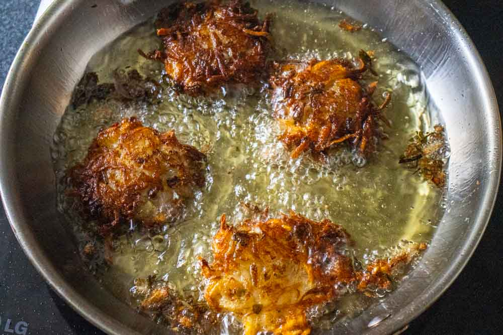 Cooked Kimchi Latkes in Frying Pan
