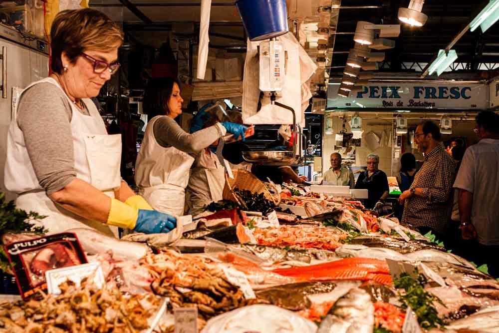 Fish Vendor at Barcelona Market