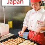 "Pinterest image: image of takoyaki vendor with caption reading ""What to Eat in Japan"""