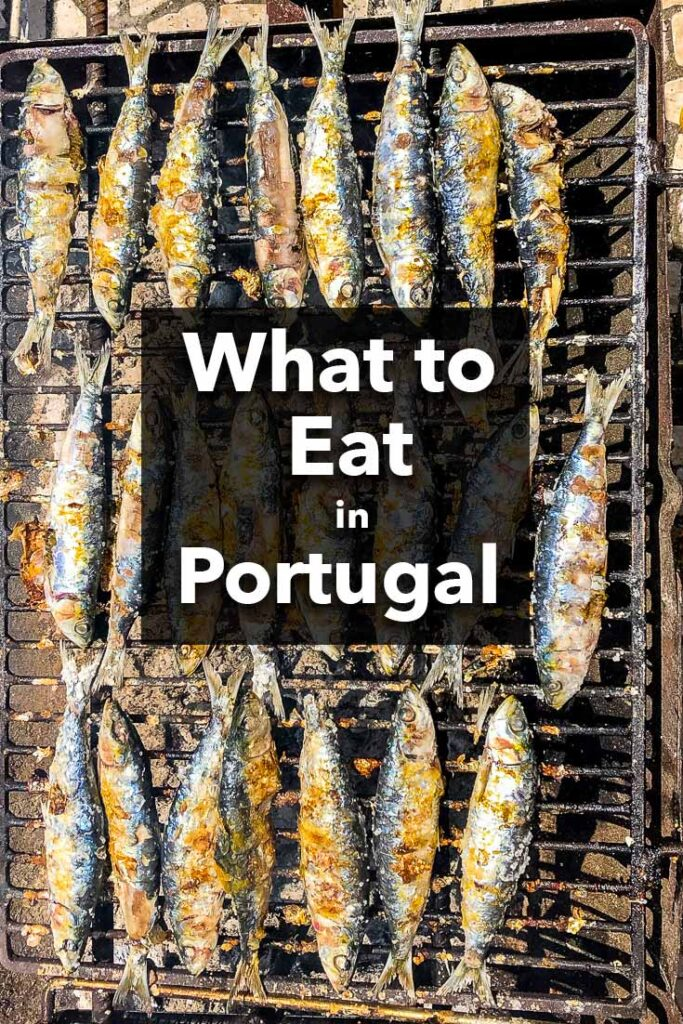 "Pinterest image: image of sardines with caption reading ""What to Eat in Portugal"""