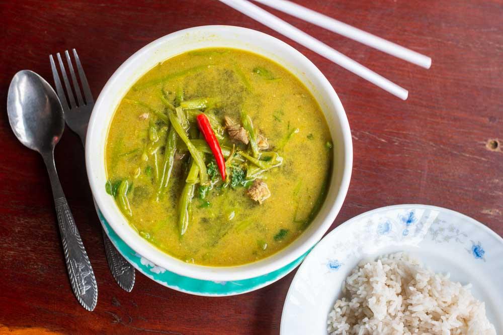 Green Curry at Cambodian Restauranrts Siem Reap