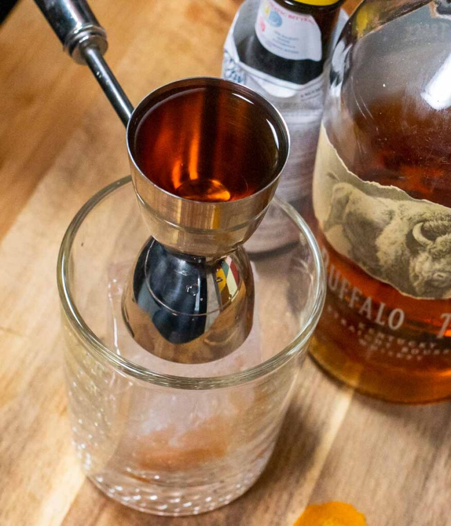 Jigger of Bourbon for Old Fashioned
