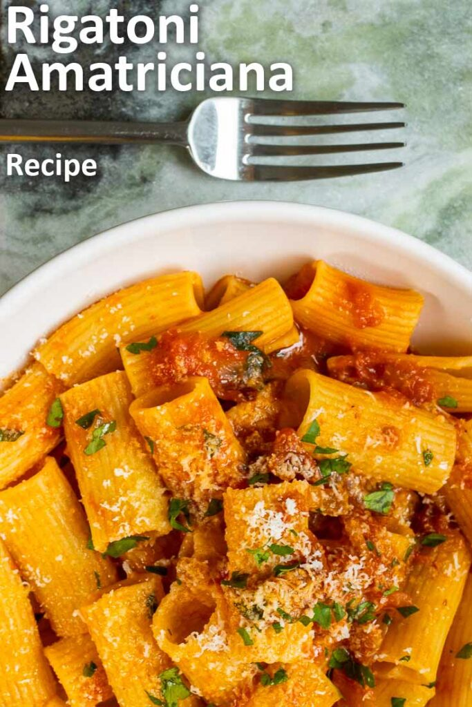 "Pinterest image: rigatoni amatriciana with caption reading ""Rigatoni Amatriciana Recipe"""